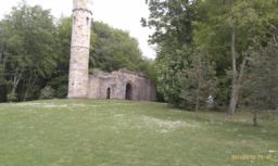 There is a view of the Gothic Ruin from the lower path