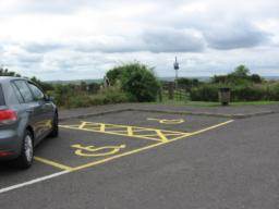 Disabled car parking bays at beginning of walk.