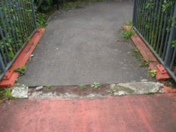 Obstacle at bridge for wheelchairs.