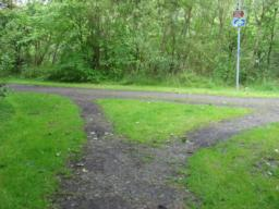 Main path on way down from bridge. to continue original walk take left fork, doing alternative take right fork.