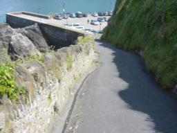 Footpath back down towards car park. After 35m the gradient increases just below view shown 20% (1:4)