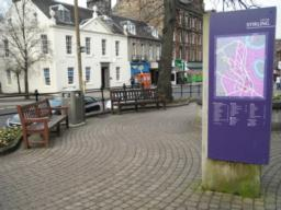 This is a more open area with seating and an information board about Stirling.