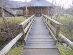 The Visitors Centre is located on the other side of this footbridge.