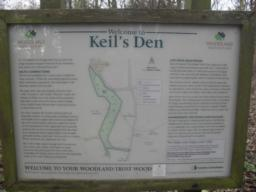 There is an information board at the start of the trail, detailing the different areas of the Den