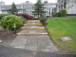 There are steps leading to the main entrance. These can be avoided by using the ramped access to the rear of the building (photos 67 and 68).