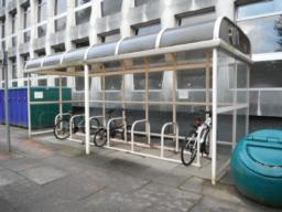 Bike shelter at the main entrance.