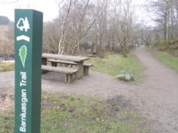 Two picnic benches are located at the start of the trail. One of these is accessible to wheelchair users.