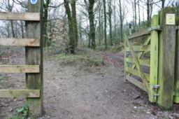 The gate does not swing fully back and there is an earth bank that restricts the width of flat path to 1m at this point with the gate open.  Wider access can be gained by closing the gate before proceeding.