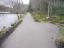 The path has been widened at regular intervals to accomodate benches. These will be installed after the path improvements have been completed.