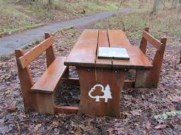 A picnic bench stands at the T-junction. This has sections removed to accommodate wheelchairs.