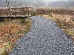 The path also has a camber, or cross slope, from the centre of the path.