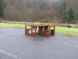 There is one picnic bench in the car park. This has been designed to accommodate wheelchairs.