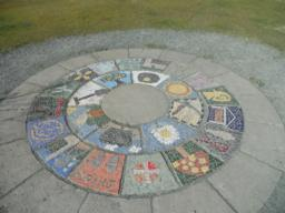 A mosaic is found at the summit.
