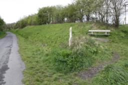 This bench is situated a short distance off the path with a gradient and across a natural surface.