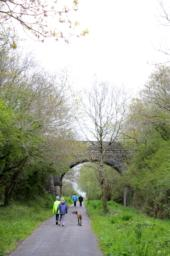 The route used to be a railway line and this is demonstrated by the stone bridge which crosses it at this point.