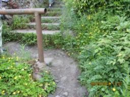 Path by barrier gets narrow - 3 hand spans or about 60cm.