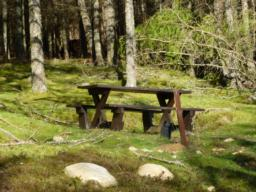 Picnic table at car park.