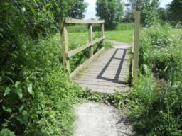 The bridge has a lip, or step level rise, of  10cm measured between the height of the path and the boardwalk.
