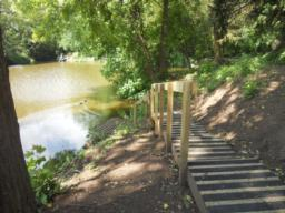 Another fishing point is accessed via steps.