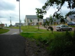 View of car park from path - accessible via new housing estate off Leuchatsbeath Drive
