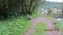 After the Pipers Pool sign there is a muddy track leading to a beach with a lovely view of Callander