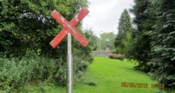 This  sign was used when path was a railway