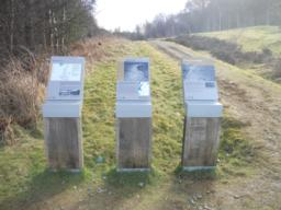 Three information stands at the back of the car park are located at the start of the trail.