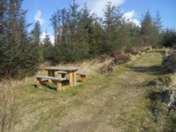 A picnic bench is located half-way up the slope.
