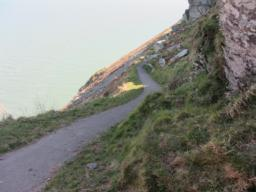 Path continues over to Coast path used earlier.  Steep drop