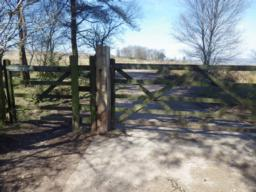 The only gate on the route, the larger one is usually padlocked.