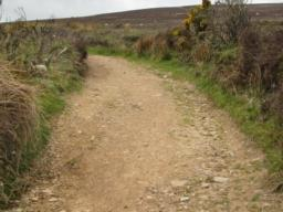 Typical path with gravel, wide 2m, clear to follow. Many erosion gullies go across path.
