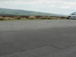 Gravel car park at the top of Dunkery Hill.