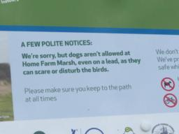 Information board on the nature reserve. No dogs permitted even on a lead.