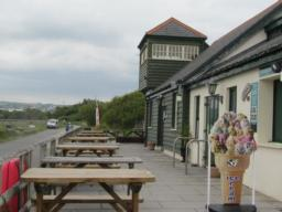 Fremington Quay café with seating inside and out. Toilets are inside through the café.