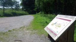 The walk starts at the eastern end of the Chargot Woods car park where there is an information board which provides details of this and other related walks.