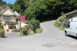Take the road to the right of the Hunters Inn.  This is the steepest part of the trail at 7 degrees up slope but the surface is good tarmac and should present few problems.