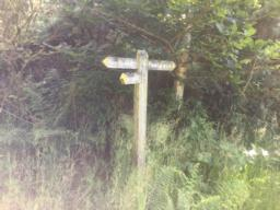 You should see this finger post on your left.  The path to the right is rarely passable but would provide a short cut to get here.
