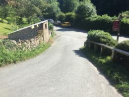 You walked up this slope at the start.  You could reward yourself with a visit to the Hunters Inn.