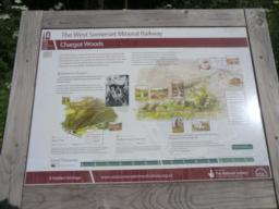 The start of the walk  - the information board in Chargot Woods car park.