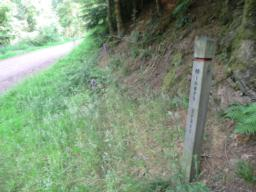 The wooden marker post annotated 'Miners Trail'.