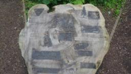 At a junction, there is more information carved on a tree stump.  The path carries on downhill.