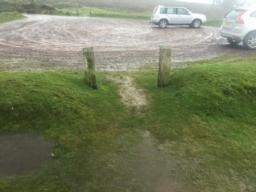 Pass between the timber post (120cm apart) to reach the car park you started from.