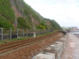 The London  to Penzance railway runs along the coast from here to Dawlish Warren.