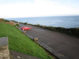 The car park off New Road. Park on the lowest tier to avoid a slope or the steps.