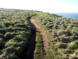 Turning left away from Bedruthan Steps towards Carnewas Point, the path changes to an earthy, uneven surface wide enough for trampers.
