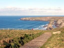 The tiled slate path descends towards Bedruthan Steps at a decline of 1:25. It looks to be very slippery in wet weather.