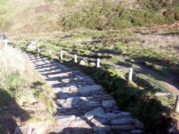 ... the path turns to rough stone steps and descends at a gradient of 1:15.