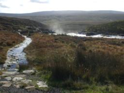 Inaccessible route, part of the Pennine way, from bridge at base of dam down past Cauldron Snout