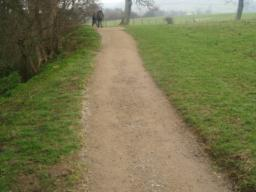The path rises at a gradient of about 10% (1 in 10) for 30m or so.