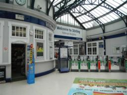 Stirling railway station ticket barriers. You can't get to the plaforms unless you go through them with a valid ticket.